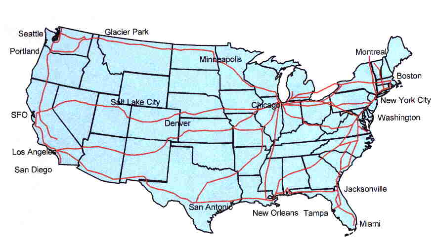 North Star Home - Amtrak national map